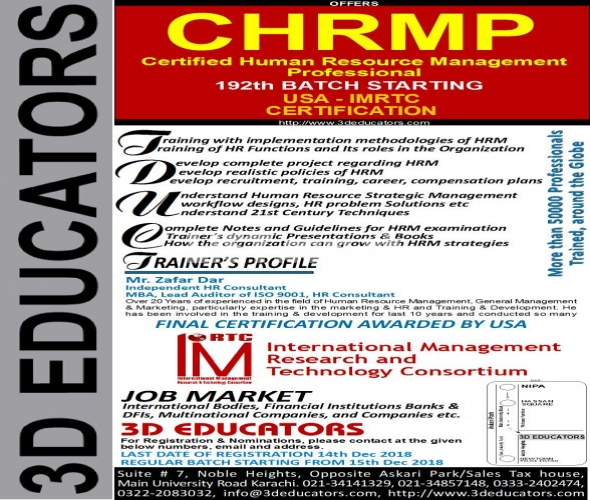 CHRMP with USA Certification Offer By 3D Educators