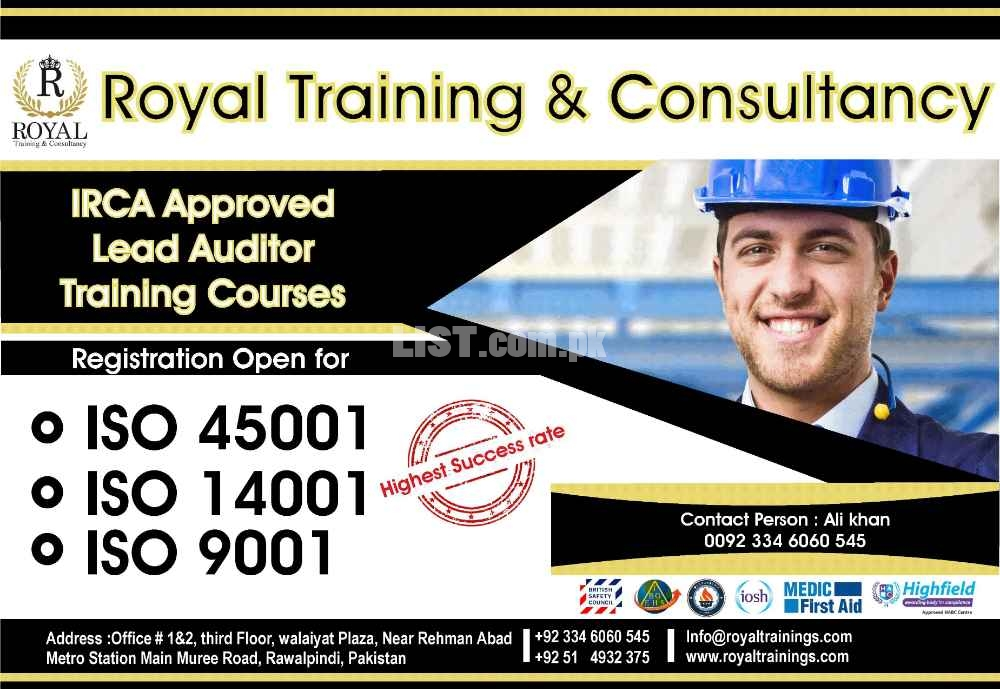 Lead auditor courses (EMS, QMS, OHSAS).