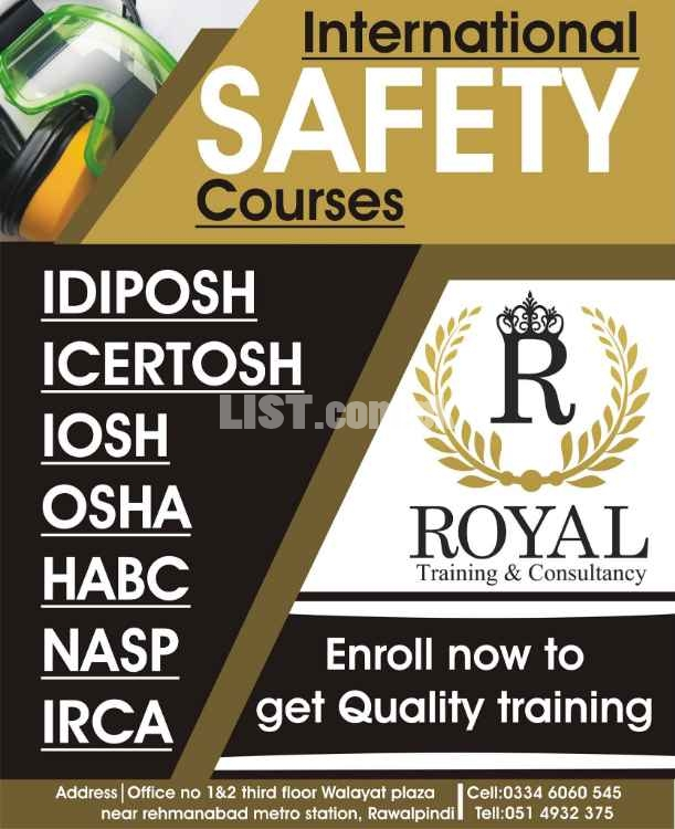 IOSH Managing Safely, OSHA (30hours) & Fire safety 3 Certification