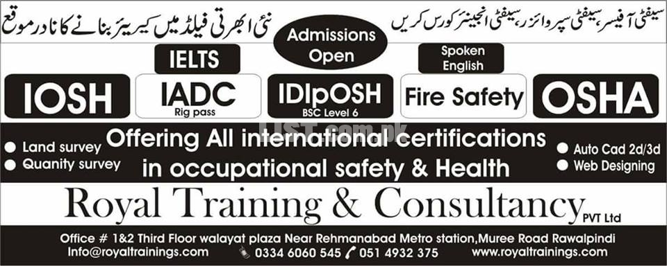 Safety Officer Courses,Civil Courses, basic IT & Short hand Course