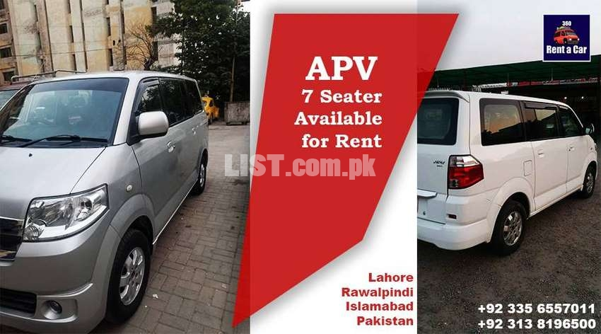 APV 7 seater For Rent available within all big cities of Pakistan
