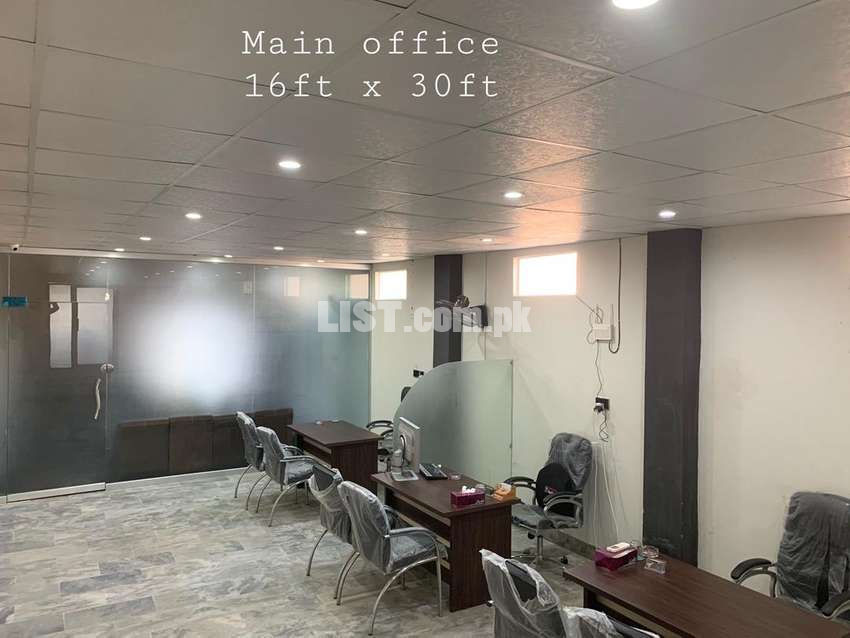 2 shops / office furnished. 1000sq ft main road Qasimabad
