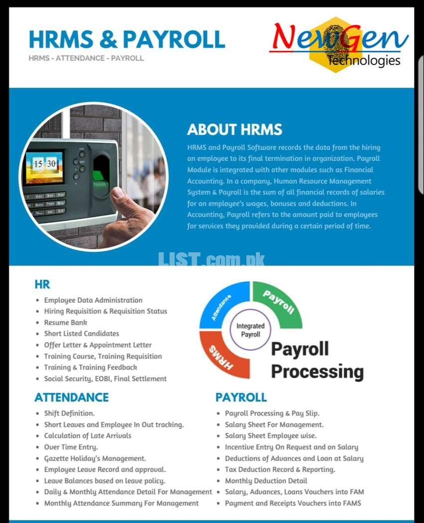 HRM, Inventory ,ERP ,Accounting ,Financial ,Payroll software Available
