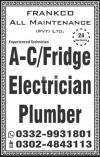 AC Fridge technician electrician plumber ceiling Aluminium carpenter